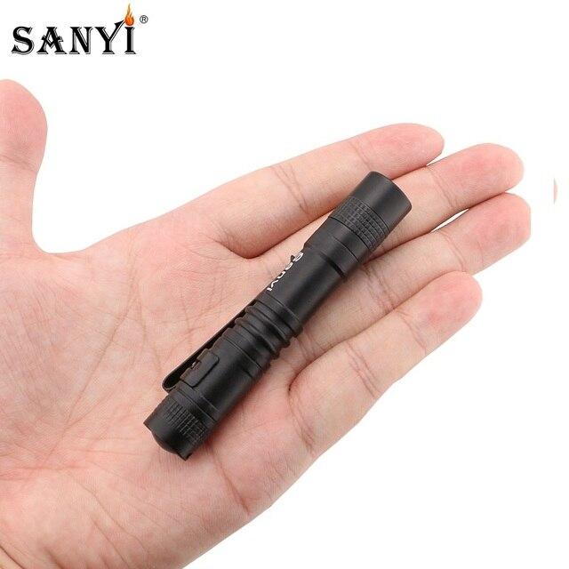 Sanyi Mini el feneri çalışma muayene lambası taşınabilir Penlight 1 anahtarı modu LED bakım el feneri cep lambası kullanımı AAA