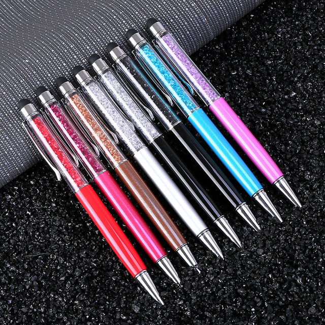 20 צבעים קריסטל כדורי עט אופנה יצירתיים Stylus מגע עט עבור כתיבת משרד מכתבים & בית ספר עט Ballpen שחור כחול