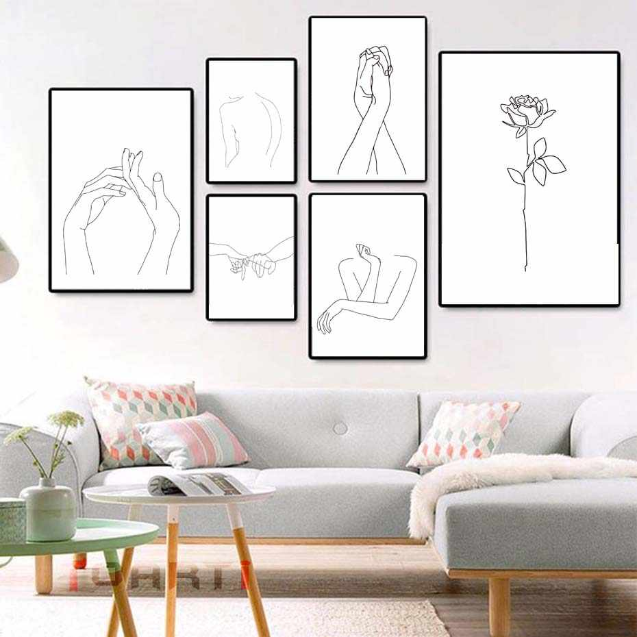 Modern Canvas Painting Wall Art Prints&Poster Bedroom Decor Modular Wall Picture Abstract Women Body Hand Line Drawing Art Mural