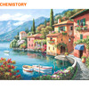 Frameless Lakeside Villa Building Landscape DIY Painting By Numbers Kits Coloring Painting By Numbers With Wood
