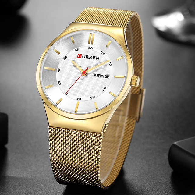 d693fc204 Fashion Men Quartz Watch Curren 8311 Mens Watches Top Brand Luxury Gold  Stainless Steel Business Wristwatches