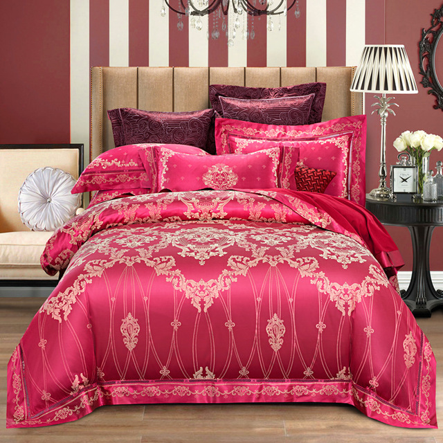 Fanaijia Jacquard Silk cotton bedding set Luxury 4pcs Embroidered Satin duvet cover queen king size bed linen bedclothes