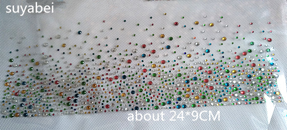 6pc lot Multicolor skirt hem decor fixing rhinestones hot fix rhinestones motif iron on transfer applique patches for shirt bag in Rhinestones from Home Garden