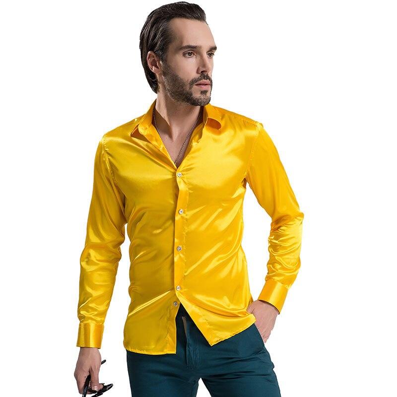 291d8b8fde 2019 di Modo Lucido Raso di Stile Britannico Camicia di Vestito di Seta di  Lusso Come A Manica Lunga Mens Casual Camicia Vestiti di Prestazione di  Usura ...