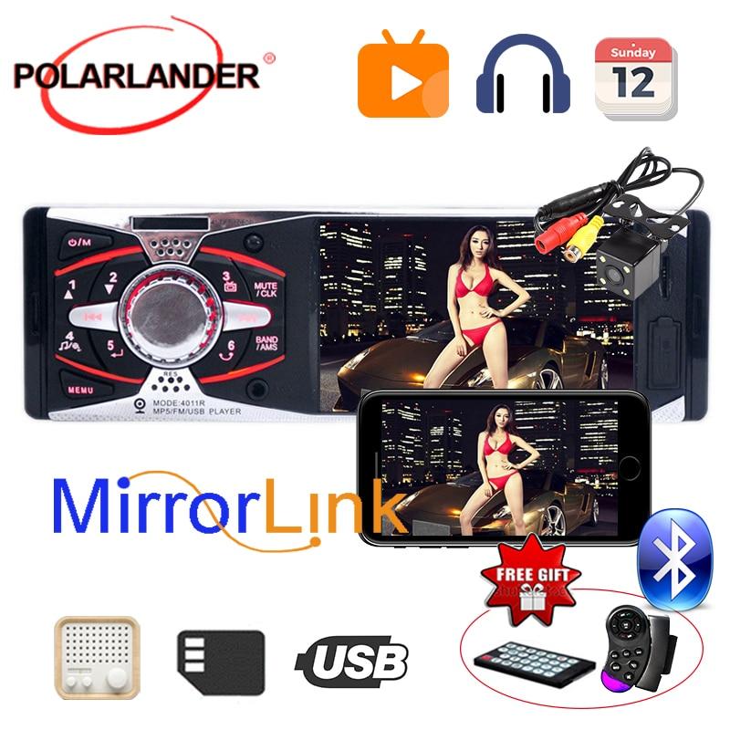 USB SD AUX Autoradio caméra stéréo rétroviseur MP3/MP5/FM 12V 1Din Autoradio 4.1