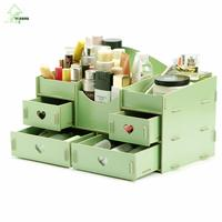 YIHONG Fashion DIY Wooden Storage Box Jewelry Container Makeup Organizer Cosmetic Sundries Handmade Assembly Wood Storage Box