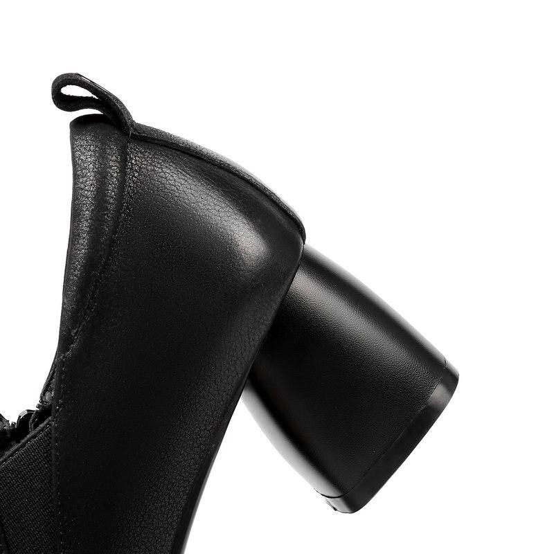 Del Mujeres Primavera 42 Pie Cuero Zapato Talón Niñas Gran Sra Genuino Tacón Las Negro Nnemaone Mujeres Tamaño Grueso verde De 34 Dedo Alto Cuadrado Zapatos zn0UWH4q