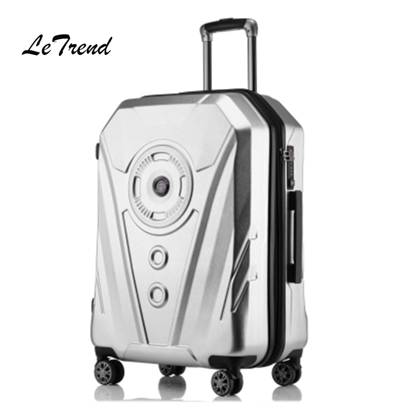 LeTrend Fashion Rolling Luggage Spinner Suitcase Wheels High capacity Travel Bag Creative 3D Trolley 20 inch Carry On Trunk