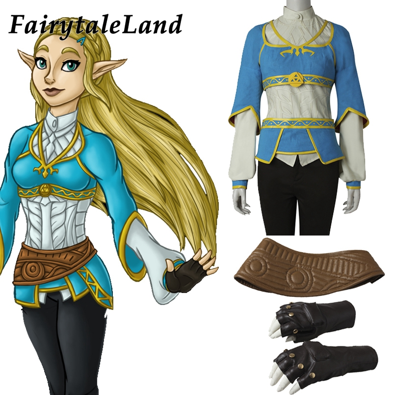 Hot Game The Legend of Zelda Princess Cosplay Breath of the Wild Zelda Costume Halloween Gloves pricess Apron belt