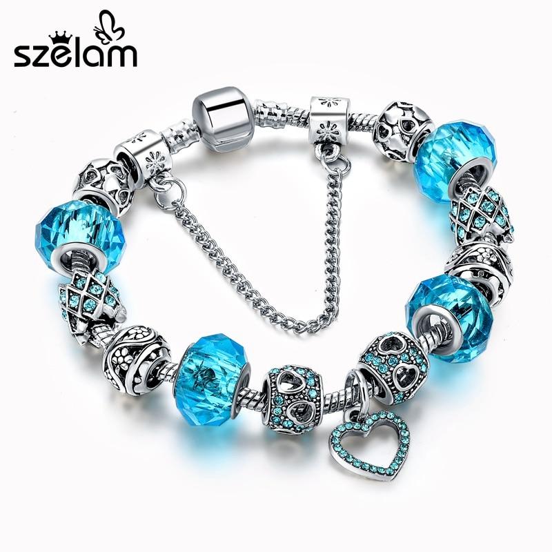 SZELAM Kristal Beads Gelang untuk Wanita DIY Perak Jantung Pesona Gelang & Gelang Pulsera SBR160267