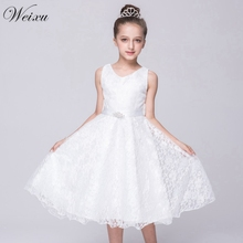цена на Dresses For Girls Black Lace With Sashes Princess Party Ball Gown Dress For Teenages Infant Kids Clothes For Baby Girls 8 Years