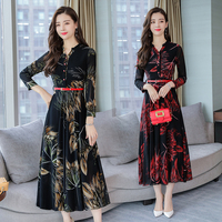 8157# 2018 Autumn Plus Size New Women Fashion Elegant Long Sleeve V neck Chiffon Printed Maxi Dress Casual Dress Female Vestidos