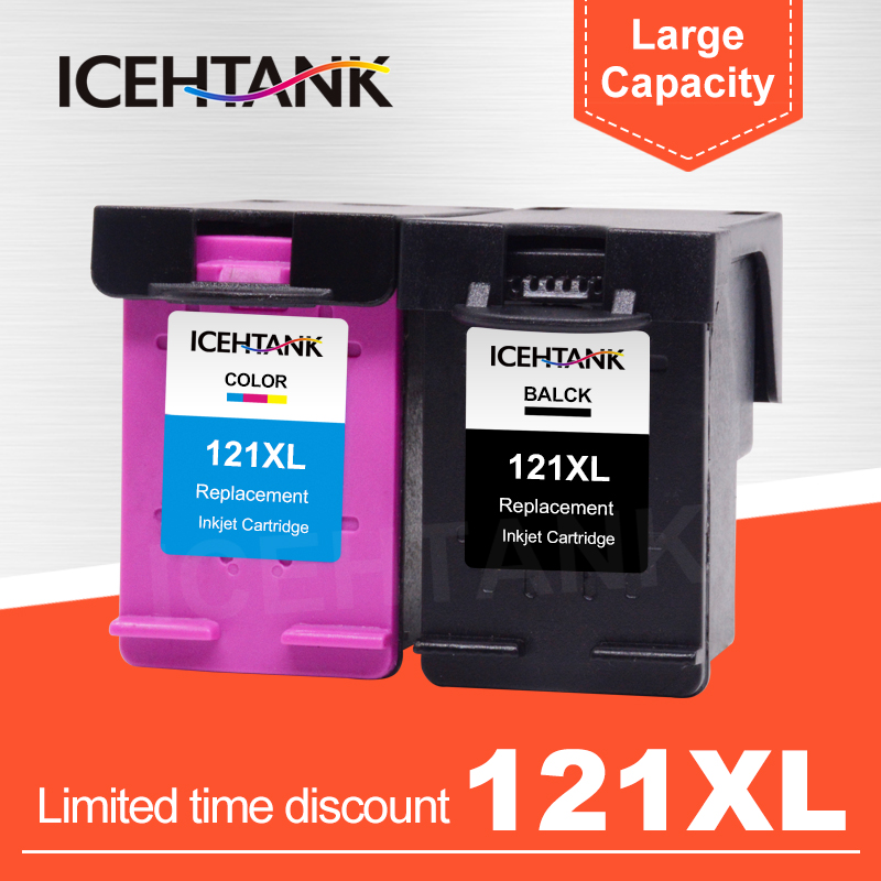 ICEHTANK Compatible Ink Cartridge Replacement For <font><b>HP</b></font> <font><b>121</b></font> XL 121XL Deskjet F4283 F2423 F2483 F2493 F4213 D2563 Printer Cartridges image