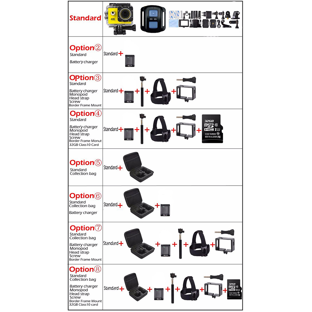 Caméra d'action à distance Tekcam F60R 4 k WIFI 1080 p HD 16MP GO PRO Style casque caméra 30 mètres étanche sport DV caméra - 2