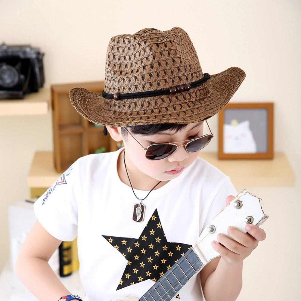 2017 Stylish Boy Kid Summer Straw Hat Western Cowboy Jazz Sun Hat Child  Beach Cap 2 6Y-in Hats   Caps from Mother   Kids on Aliexpress.com  2b4f5a57df2