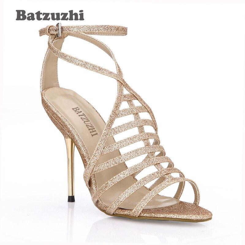 10 Mujeres 35 Zapatos Gladiador Verano Batzuzhi Mujer De Brillo Tacones Cm Sandalias Moda Tamaño 43 Hierro Las Oro Sexy Correas UX6U4xwpq