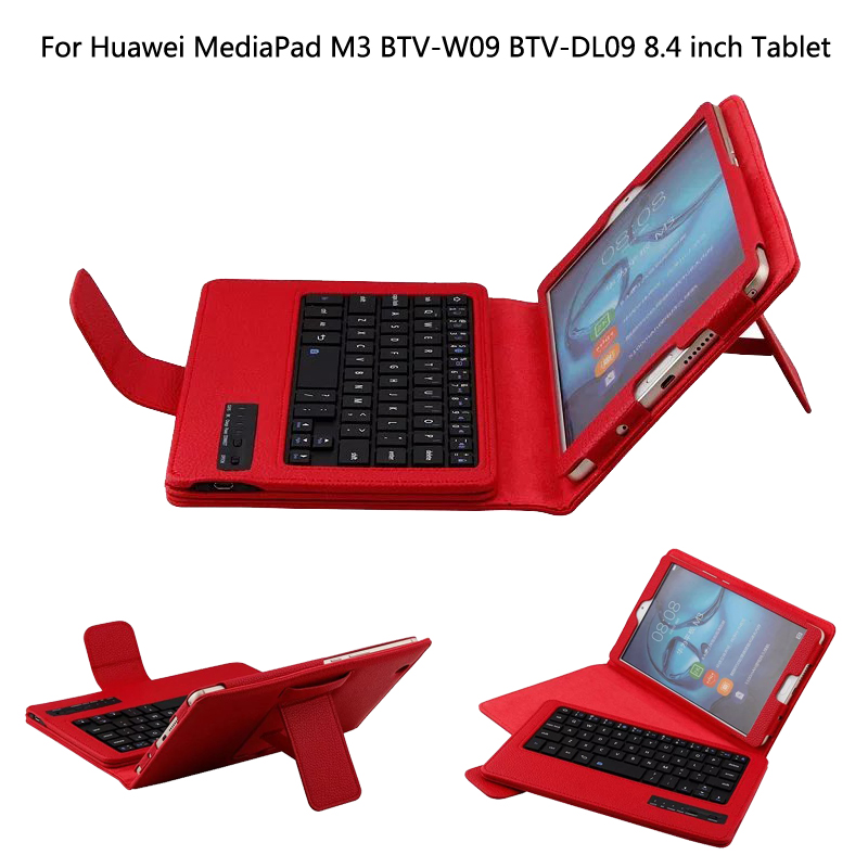 For Huawei MediaPad M3 8.4 BTV-W09/DL09 8.4 inch Tablet Bluetooth Keyboard Portfolio Folio PU Leather Case Cover + Stylus + Film ultra thin pu leather case cover for huawei mediapad m3 btv w09 btv dl09 8 4 inch tablet cases stylus film