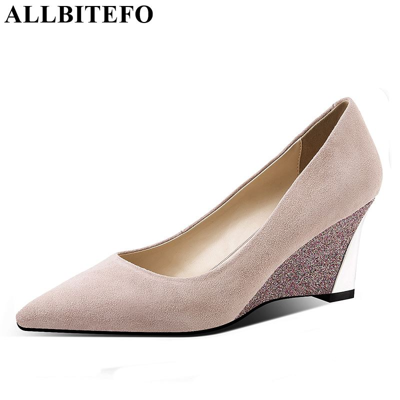 ALLBITEFO soft sheepskin genuine leather high heel shoes casual fashion comfortable shallow bling heels shoes sapato femininoALLBITEFO soft sheepskin genuine leather high heel shoes casual fashion comfortable shallow bling heels shoes sapato feminino