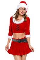 קטיפה אדומה 4 יחידות MS סנטה חג מולד תלבושות סקסיות למבוגרים ליל כל הקדושים המפלגה קוספליי תחפושת נשים למעלה + Waistbelt + חצאית + כובע 7289