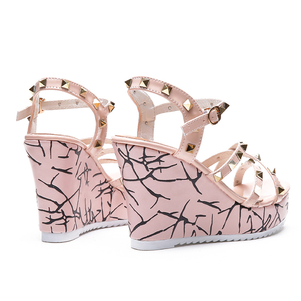 Zapatos Mujer 2018 Shoes Woman Sandals Wedge Summer Lady Fashion High Heels Sandals Elegant Rivets Women Shoes Platform Wedges 25