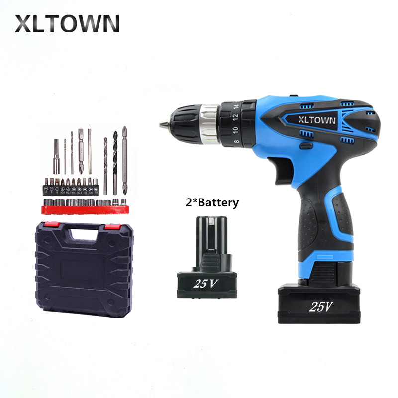 XLTOWN the new 25V 2000mA Impact Drill Rechargeable Lithium Battery Electric Screwdriver Cordless Electric Drill Power tools цена