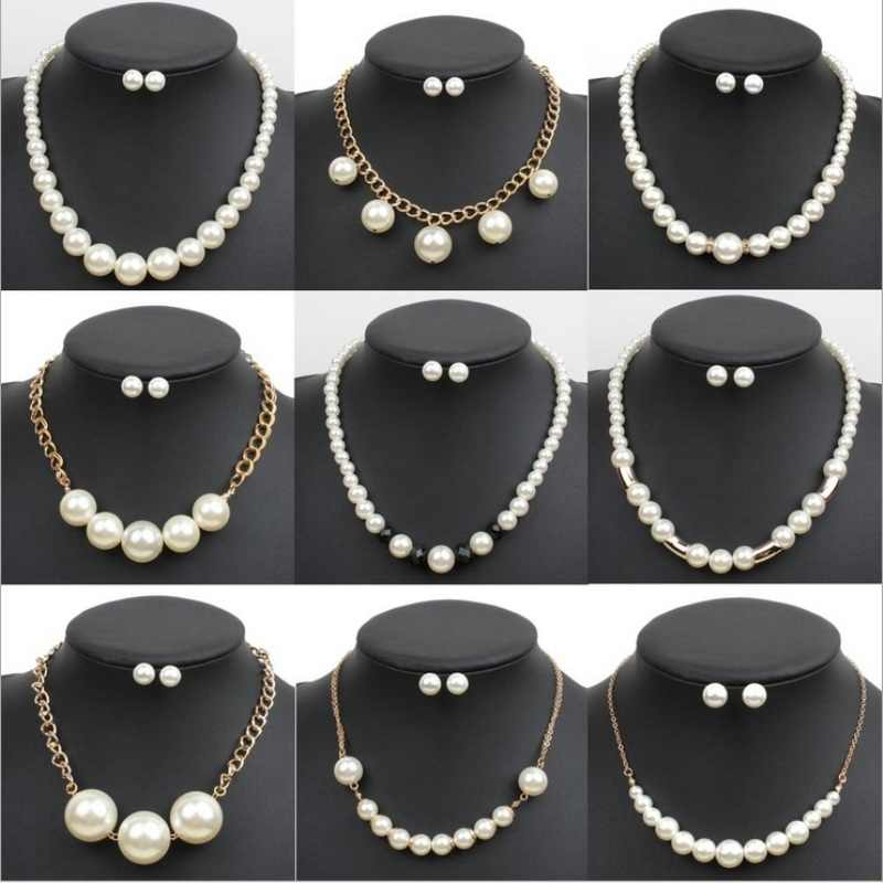 New Hot Classic Imitation Pearl Gold Color  Clear Crystal Top Elegant Party Gift Fashion Costume Pearl Jewelry Sets Sale