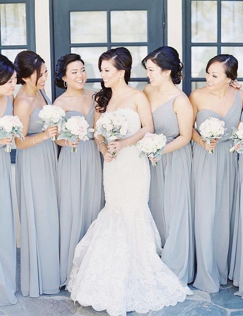 One shoulder gray bridesmaid gowns navy bluepeachivorychampagne one shoulder gray bridesmaid gowns navy bluepeachivorychampagnesilver yellowhunter chiffon bridesmaid dresses fast shipping in bridesmaid dresses from ombrellifo Image collections