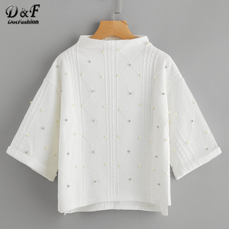 Dotfashion Mock Neck Beading Embossed Slit Side Sweatshirt 2017 Women White 3 4 Sleeve Pullovers Autumn
