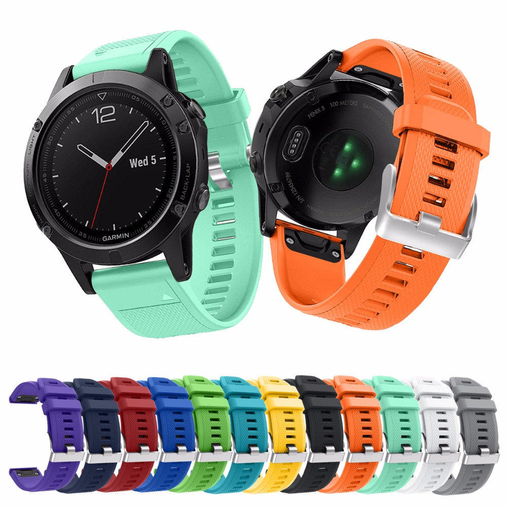 6 Colors Replacement Quick Release 26mm Width SSilicone Strap For Garmin Fenix5X Fenix3 and Fenix3 HR Smart Watch Sport Band 12 colors 26mm width outdoor sport silicone strap watchband for garmin band silicone band for garmin fenix 3 gmfnx3sb