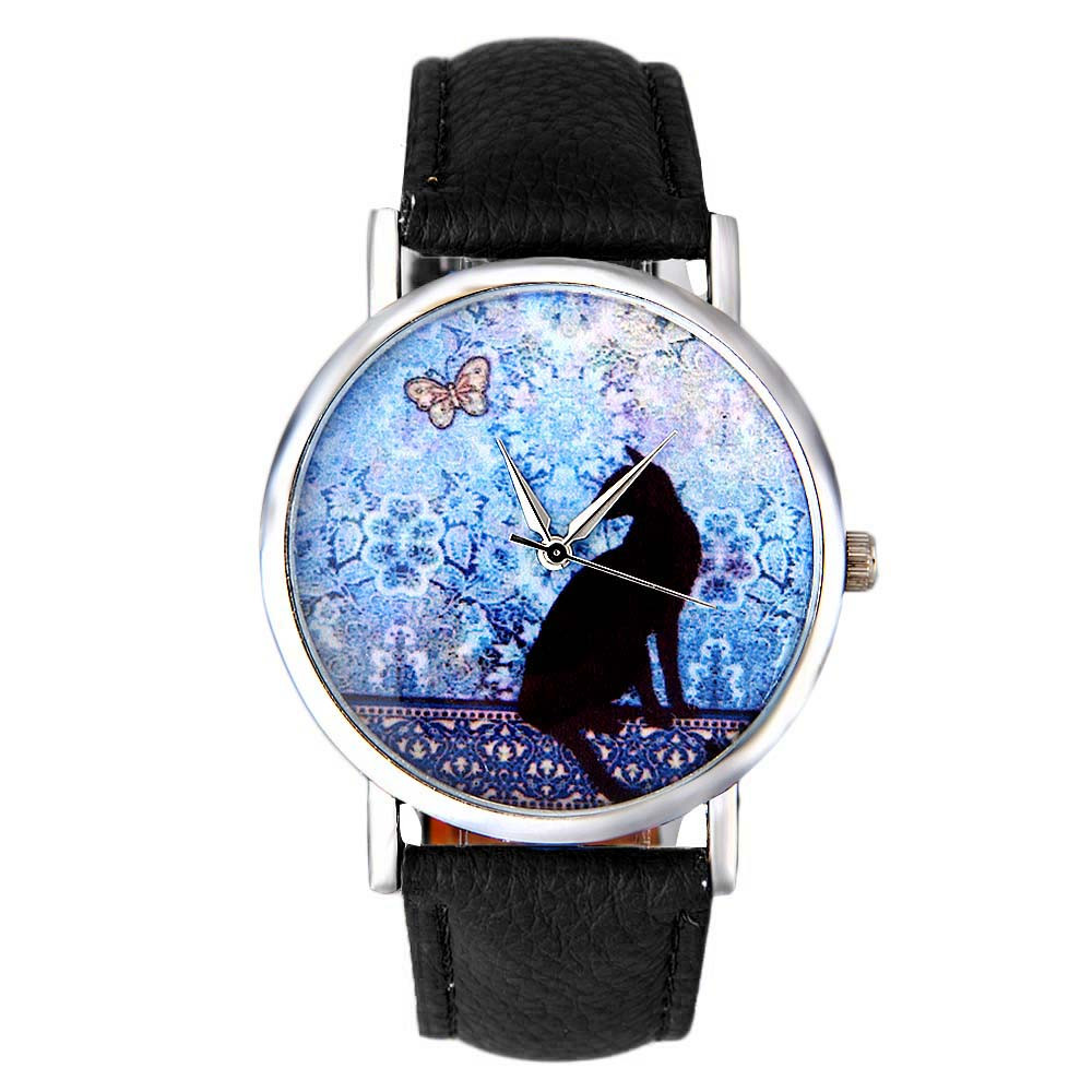 New Fashion Women Watches Simple Black Cat Watch Girls Clock Digital Female Quartz Watch  Leather Strap Stainless Steel Dial