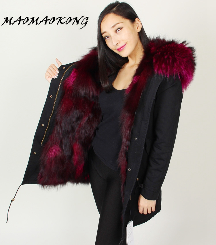 winter jacket brand style black Large raccoon fur collar coat parkas outwear long detachable fox fur lining Hooded 2017 winter new clothes to overcome the coat of women in the long reed rabbit hair fur fur coat fox raccoon fur collar