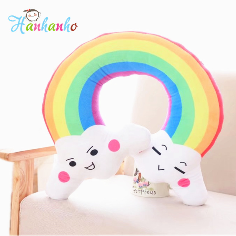 Lovely Rainbow Cloud Cushion Colorful Soft Sofa Pillow Kids Bedroom Decor Plush Toy Gift 45cm lovely hellokitty plush toy creative plush pillow donut cushion office nap cushion sofa