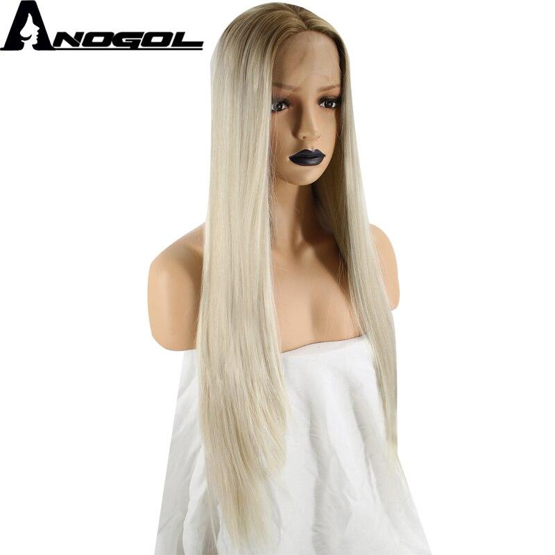 Anogol Haute Température Fiber 360 Frontale U Partie Perruques Frontale Brun Ombre Platinum Blonde Longue Ligne Droite Synthétique Avant de Lacet Perruque