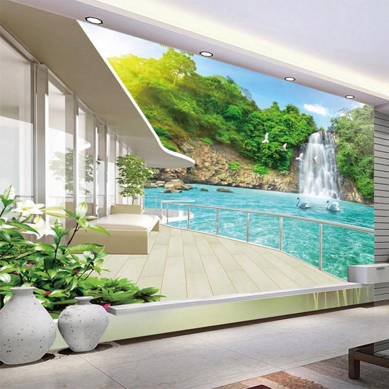 Latest Balcony Landscape Waterfall 3D Wall Painting Custom 3D Stereo Nature Mural Wallpaper Living Room TV Sofa Backdrop Fresco