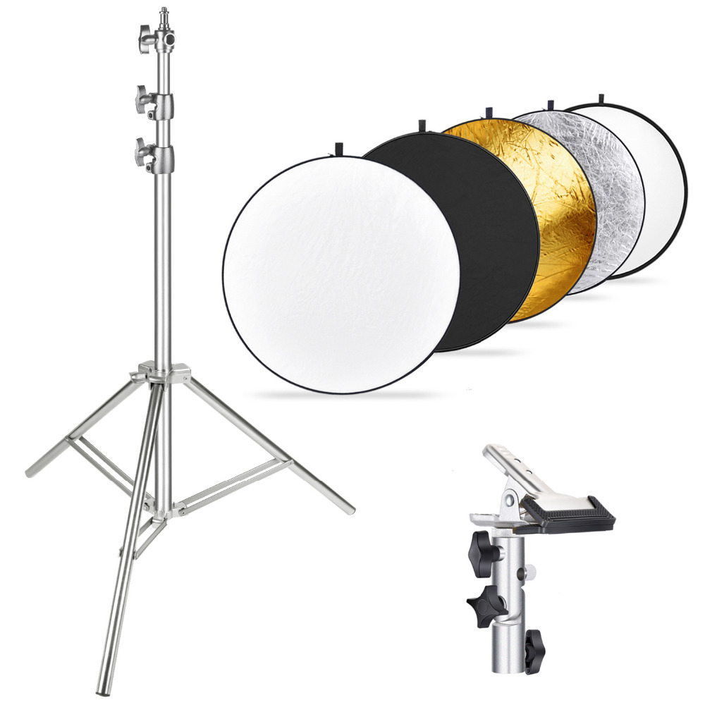 Neewer Photography Light Stand and 43 inches/110 centimeters 5-in-1 Multi-Disc Reflector with Heavy-duty Metal Clamp HolderNeewer Photography Light Stand and 43 inches/110 centimeters 5-in-1 Multi-Disc Reflector with Heavy-duty Metal Clamp Holder