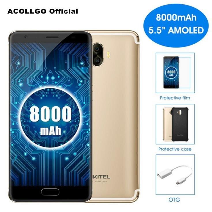 Oukitel K8000 4g Mobile Téléphone MTK6750T Octa Core 5.5 pouce AMOLED 4 gb RAM 64 gb ROM 16MP + 13MP Double Caméra Android 7.0 D'empreintes Digitales