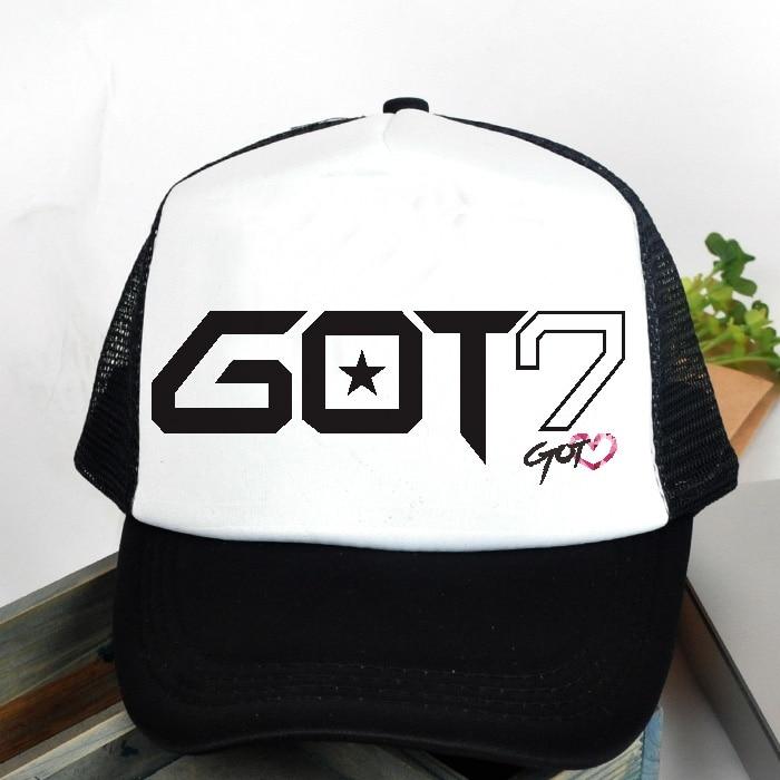 KPOP Hat For GOT7 JJ Project Team 2016 Fashion Design Classic Black Sport Baseball Cap Hip-hop Cap For Men Women k-pop got 7 sj