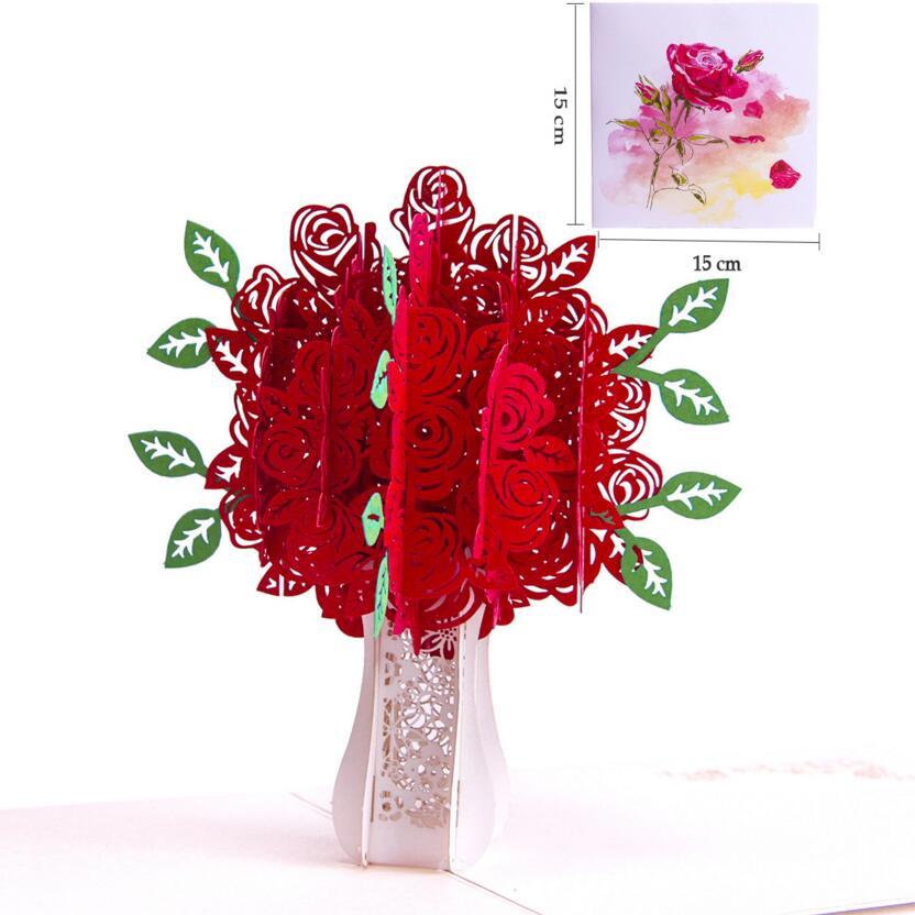 DIY creative Teacher's Day Card 3D Pop Up Laser Cut Cards for Lover Teacher Souvenir Colorful roses greeting cards 17Q24D50 retro hollow kraft paper greeting card creative business gift card father s mothers day blessing card wedding cards 10pcs pack