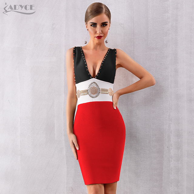 V-Neck Tank Sleeveless Beading Bodycon Celebrity Party Dress 2