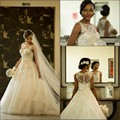 Nova Moda vestido de Baile Colher Organza Mangas Botão Vestidos de Casamento da Luva do Tampão Apliques Beads Lace Elegantes Vestidos de Noiva