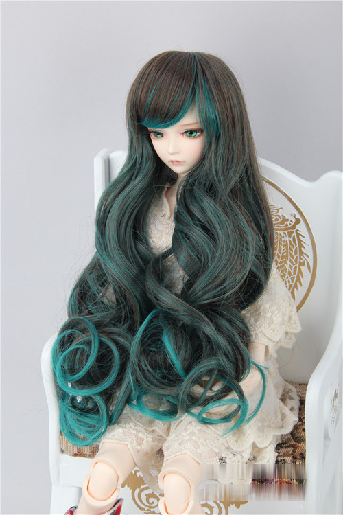 hair for dolls fits 1/3 1/4 1/6 BJD/SD Doll Wigs Long Pear volume hair Black and green color mixing (excluding dolls)  096 fashion black hair extension fur wig 1 3 1 4 1 6 bjd wigs long wig for diy dollfie