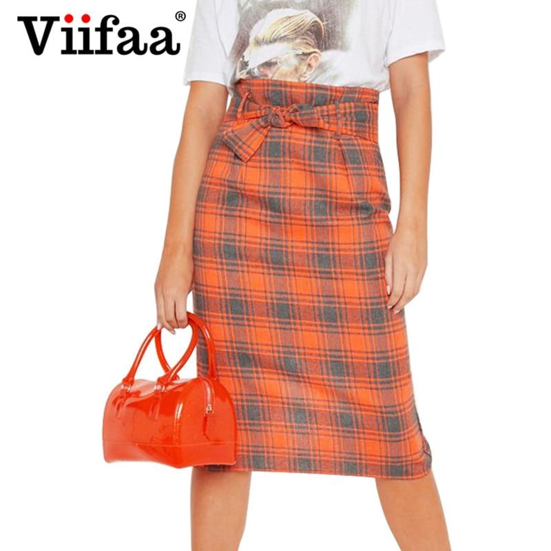 d4bdeff73 Viifaa mujer Bodycon de cintura alta Falda de tubo a cuadros tartán falda  de oficina de señora ...
