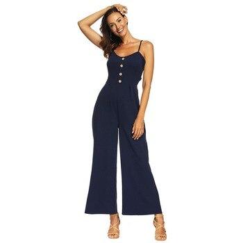 1650f9bf8 Mono informal de Mujer con tiras para Mujer Pantalones largos Enteritos  Mujer Verano Ropa Mujer ...