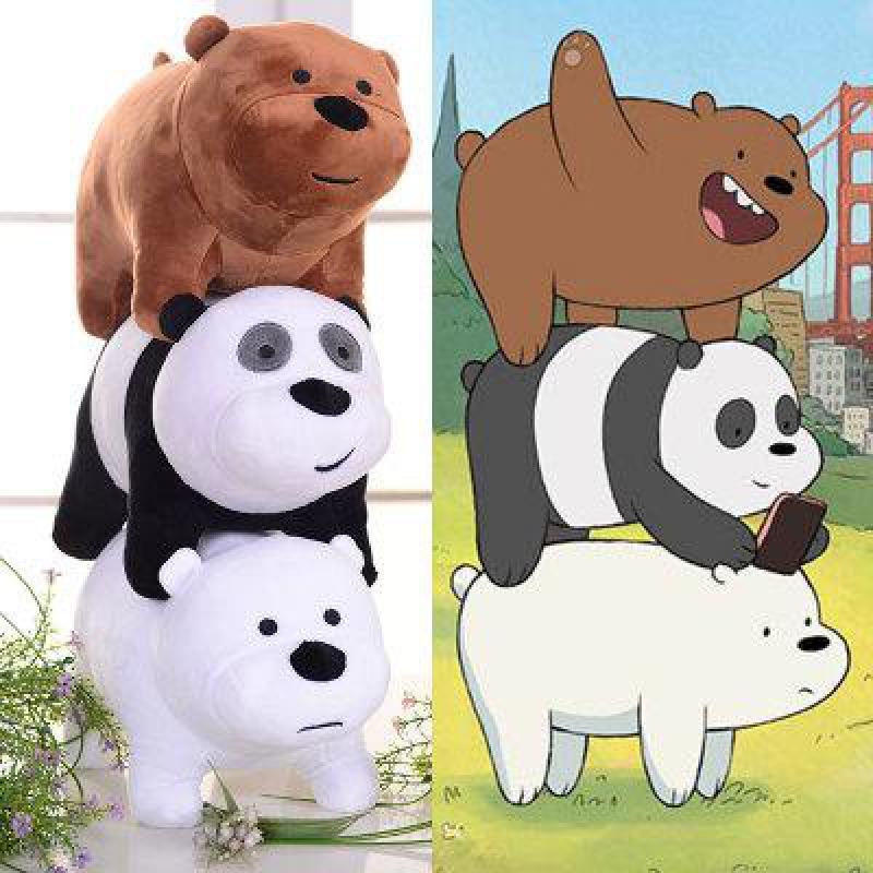 3pcs/set 25cm We Bare Bears Plush Toy Cartoon Bear Grizzly Gray White Polar Bear Panda Stuffed Doll Kids Girls Birthday Gifts panda bear panda bear meets the grim reaper
