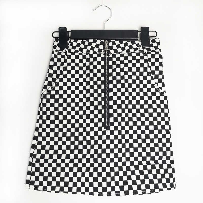 Flectit Street Style czarno-biała spódnica w kratkę kobiety powyżej kolana o-ring Zipper przód spódnica w kratę HARAJUKU Apex spódnica
