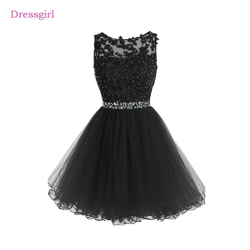 שחור 2017 שמלות קוקטייל אלגנטיות אונליין קצר מיני אורגנזה תחרת חרוזים גב פתוח שיבה הביתה