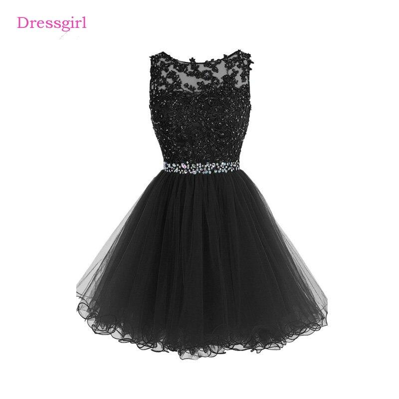 Noir 2017 robes de Cocktail élégantes une ligne courte Mini Organza dentelle perlée dos ouvert robes de retour