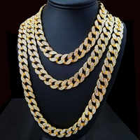 Miami Curb Cuban Chain Necklace 15mm 30inches Golden Iced Out Paved Rhinestones CZ Bling Rapper Necklaces Men Hip Hop Jewelry