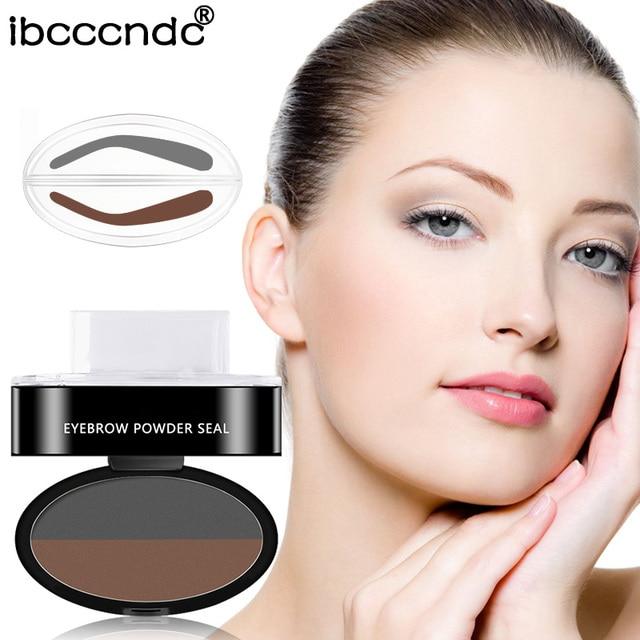 Double Color Eyebrow Powder Seal Makeup Brown Eye Brow Stamp Palette Long Lasting Waterproof Eyebrow Shadow Stencil Kit Cosmetic