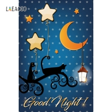 Laeacco Cartoon Moon Good Night Baby Bed Portrait Photography Backgrounds Customized Photographic Backdrops For Photo Studio